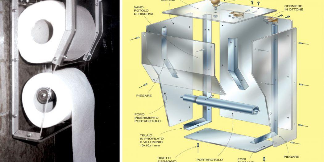 Porta carta igienica fai da te da muro in alluminio e plexiglas